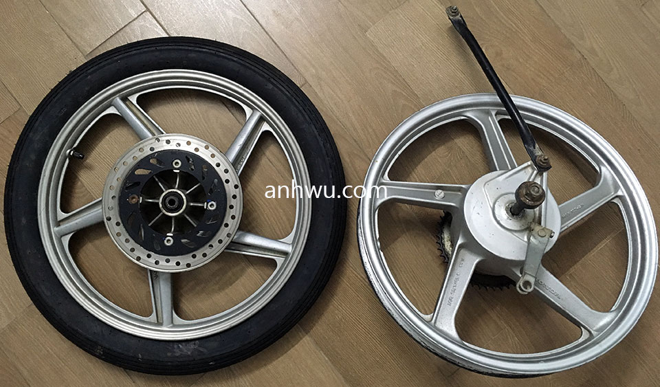 Vietnam off-road and touring motorbike parts for sale in Hanoi, Northern Vietnam. Honda front wheels.
